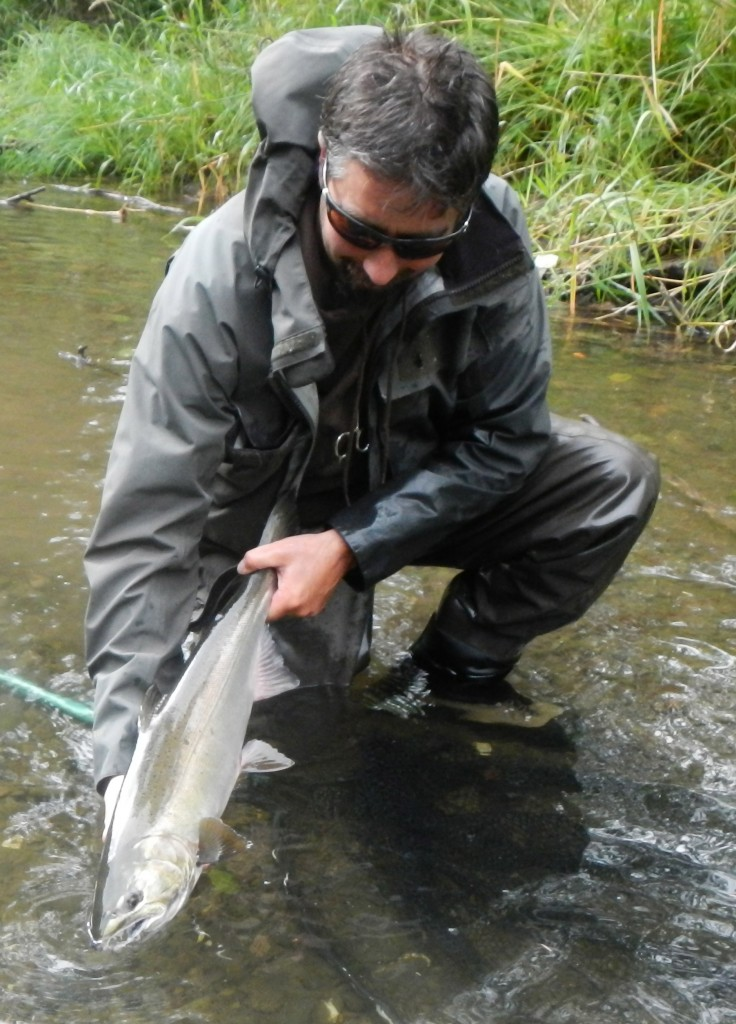 Keith got this salmon and several others during the higher flows today