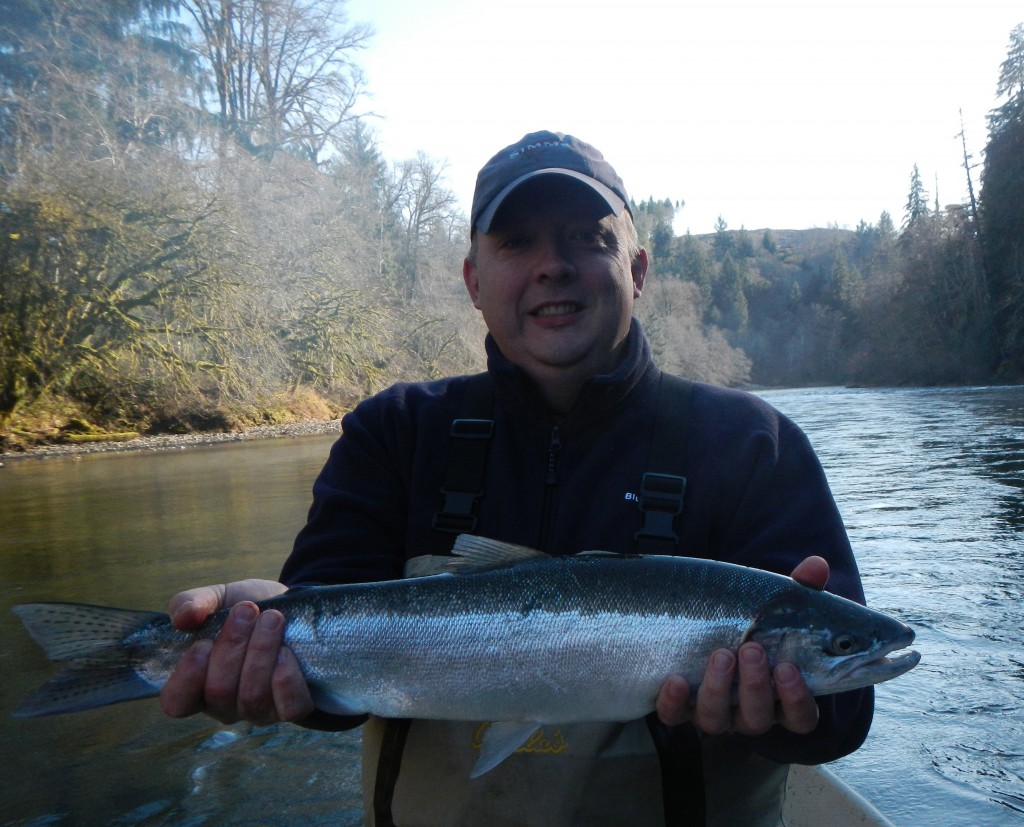 John, and hatchery steelhead.  (John is the one in the hat)