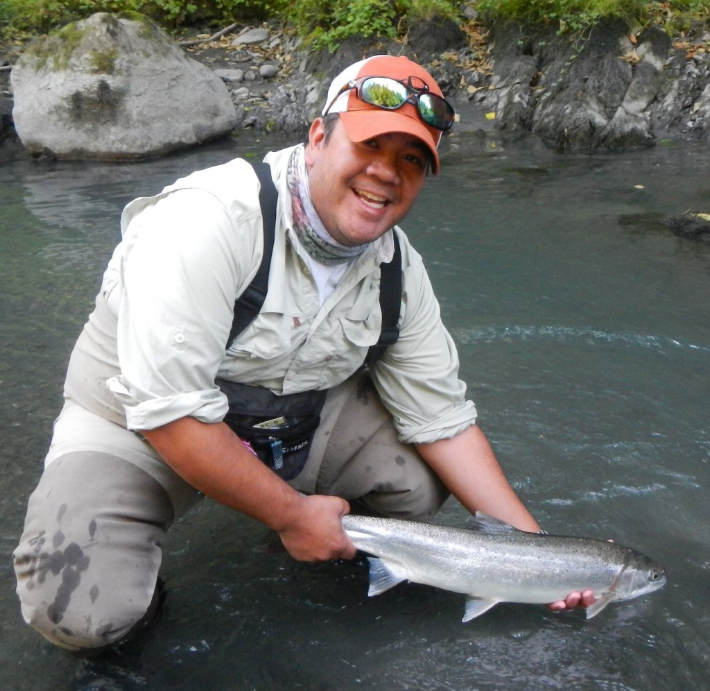 Dan with a summer steelhead. Thanks Puget sound fly company