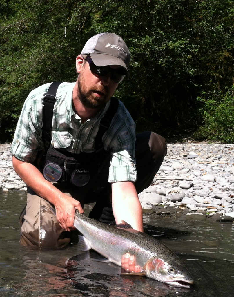 Steve swings up his second summer steelhead of the morning