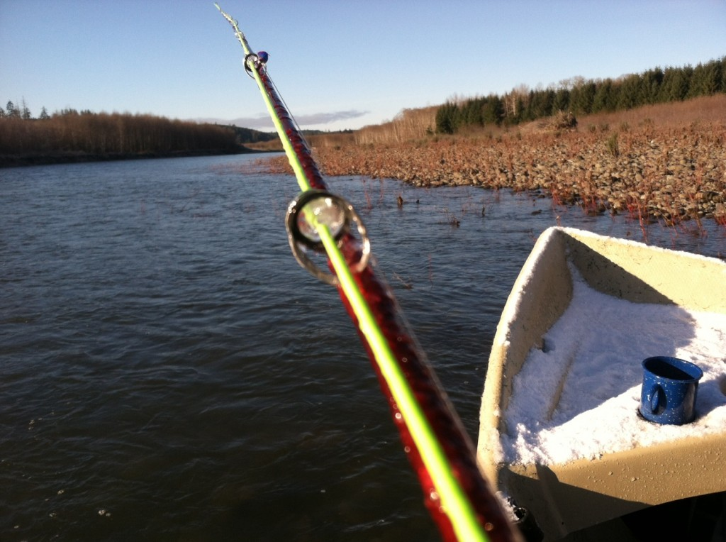 So cold the guides freeze all the way shut, early winter steelhead,Olympic peninsula