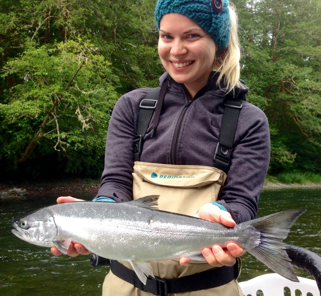 Megan with a hatchery silver, right where she knew it would be