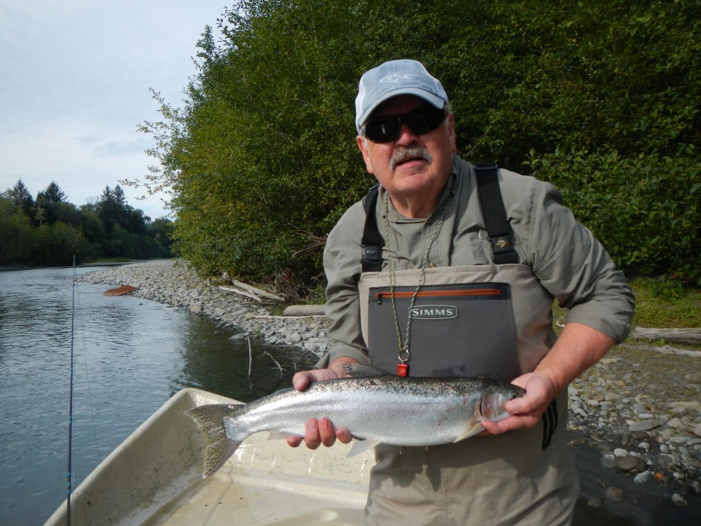 Bruce stripped a streamer from the boat for this hatchery summer steelhead