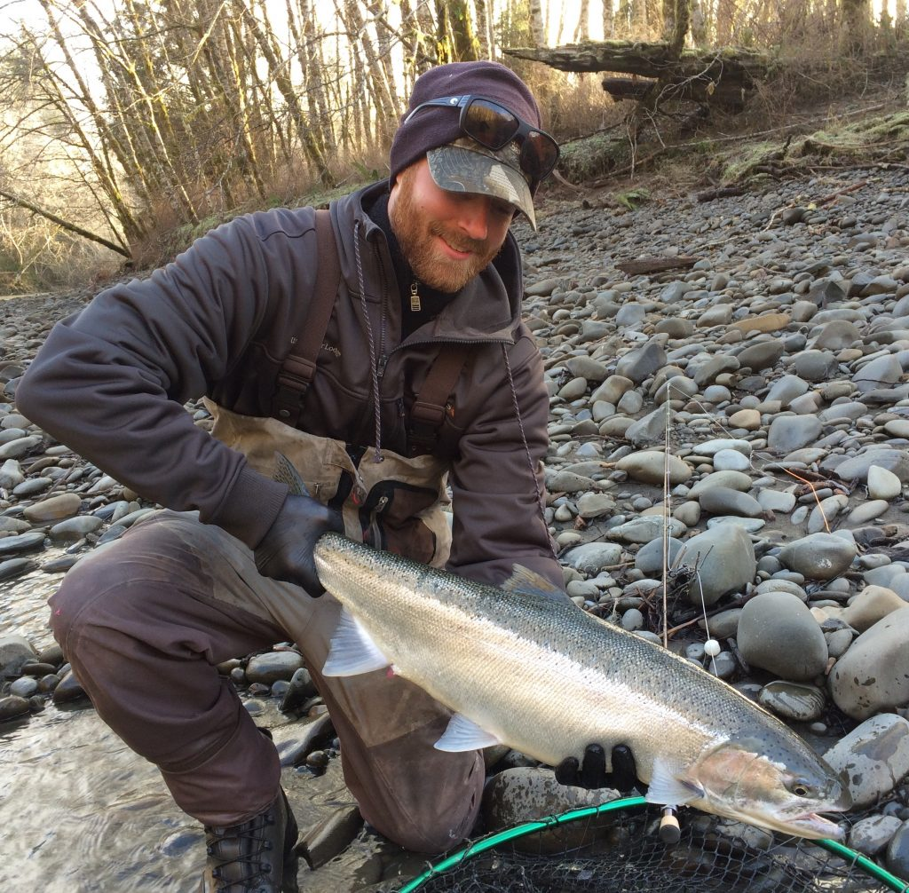 Ryan with a Bogacheil hatchery steelhead